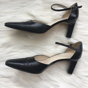 J. Crew Black Leather Pointy Toe Heel Size 9